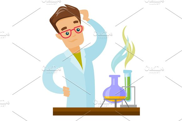 Caucasian Student Working In Laboratory Class
