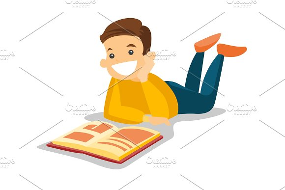 Caucasian White College Student Reading A Book