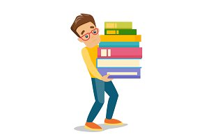 College student carrying a heavy pile of books.