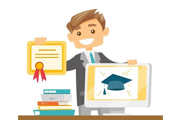 Caucasian graduate holding certific…