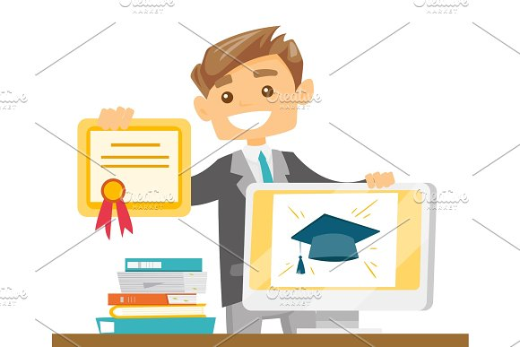 Caucasian Graduate Holding Certificate And Tablet