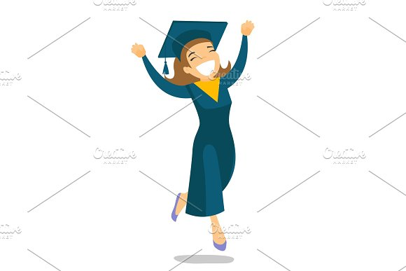 Young Cheerful Caucasian White Graduate Jumping
