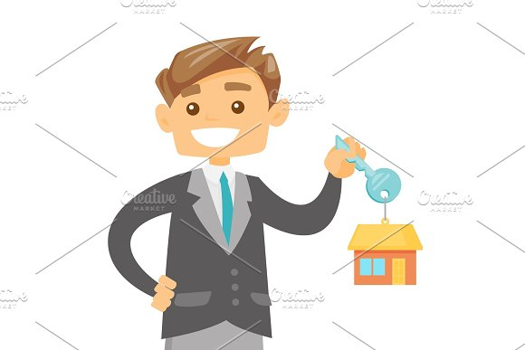 Young Caucasian Owner Holding Key To His New House