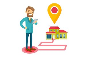 Real estate agent and house with map pointer.
