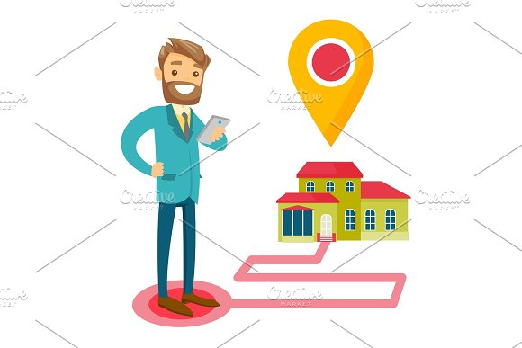 Real Estate Agent And House With Map Pointer