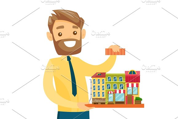 Caucasian Real Estate Agent Presenting City Model