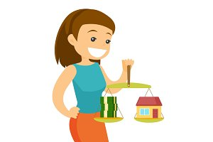 Young woman holding scales with money and house.