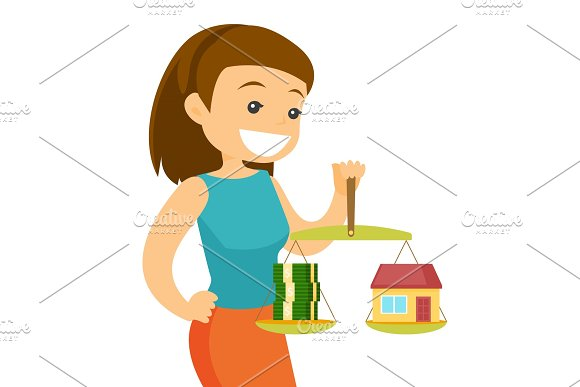 Young Woman Holding Scales With Money And House