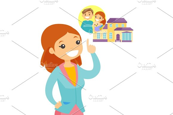Woman Planning Her Purchase Of A Family House