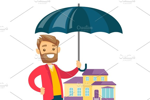 Insurance Agent Protecting Model Of The House