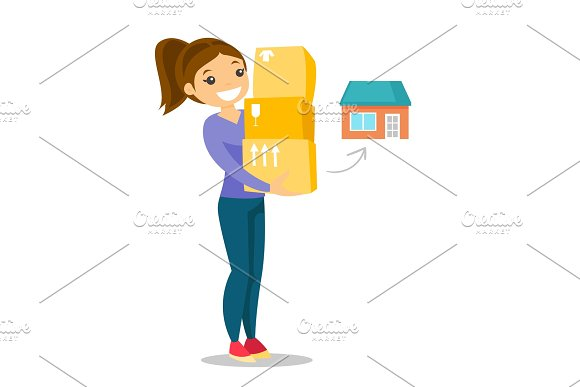 Young Caucasian White Woman Moving To A New House