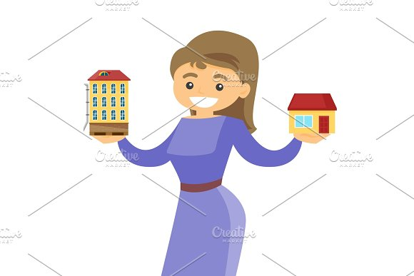 Woman Choosing Between Town Apartment And House