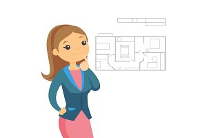 Woman thinking about blueprint of new apartment.