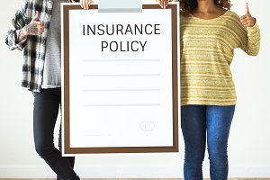 Women with insurance policy icons