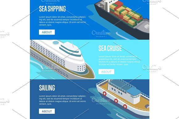 Sea Shipping Isometric Horizontal Flyers