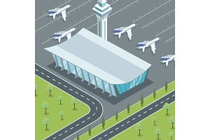 Modern airport terminal and jets