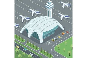 Airport with jets and parking lot