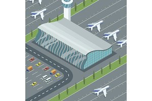 Airport building with planes