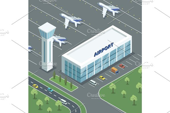 Airport Modern Building And Jets