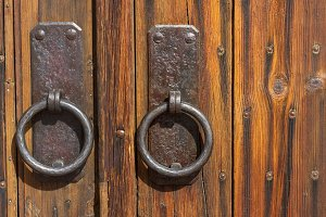 Wooden Gate With Antique Pulls