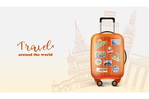 Colorful traveling banner with orange bag