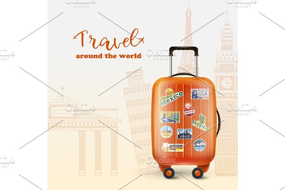 Worldwide Tourism Banner With Orange Bag