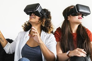 Women experiencing the VR goggles