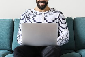 Man using laptop for work