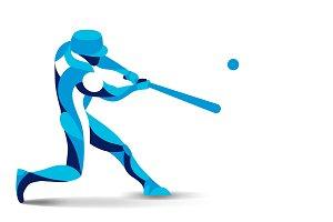 Trendy stylized baseball player