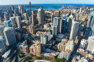 Aerial view of Sydney CBD