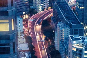 Aerial view of urban road traffic at night