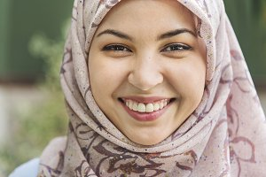 Close up face of Islamic woman