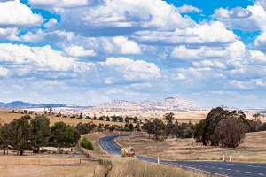 Panorama landscape of Australian outback road