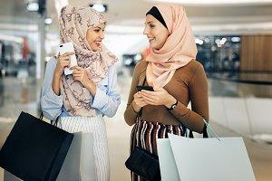 Islamic women friends shopping