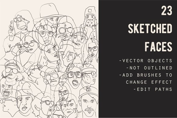 Hand Sketched Faces Vector