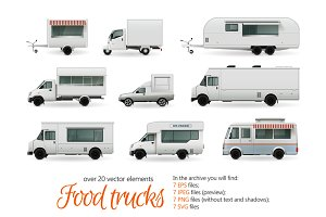 Food Trucks Realistic Set