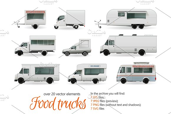 Food Trucks Realistic Set