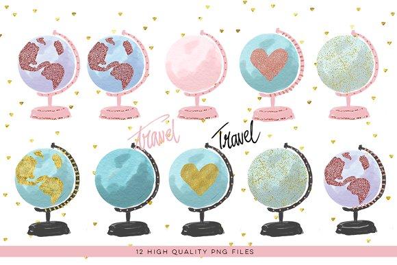 Watercolor Globe Clipart