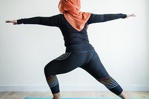 Islamic woman doing yoga