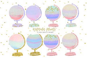 Gold globe clip art watercolor