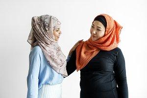 Two of islamic friends talking