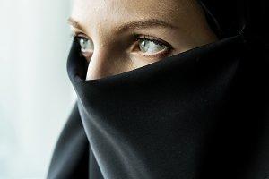 Close up of islamic woman portrait