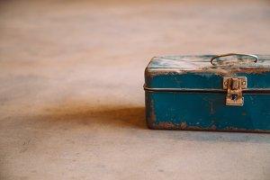 Blue Rusty Metal Toolbox 1