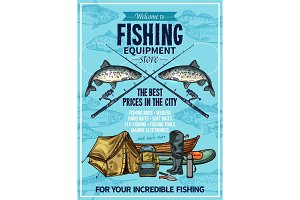 Vector fisherman sport fishing equipement poster