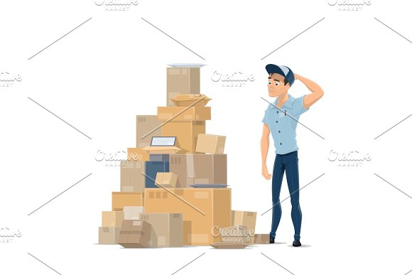 Post Mail Parcels And Postman Vector Flat Icon