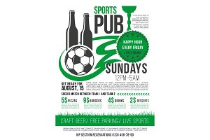 Vector soccer sports bar football pub menu design