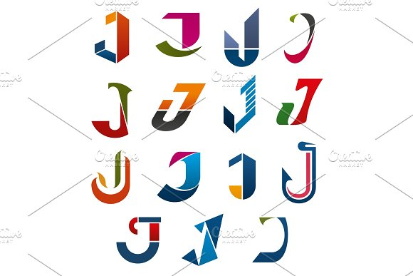 J Letter Vector Icons Template Company Brand Name