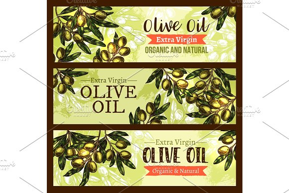 Vector Olive Oil Product Olives Sketch Banners