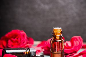 Roses essential oil bottle