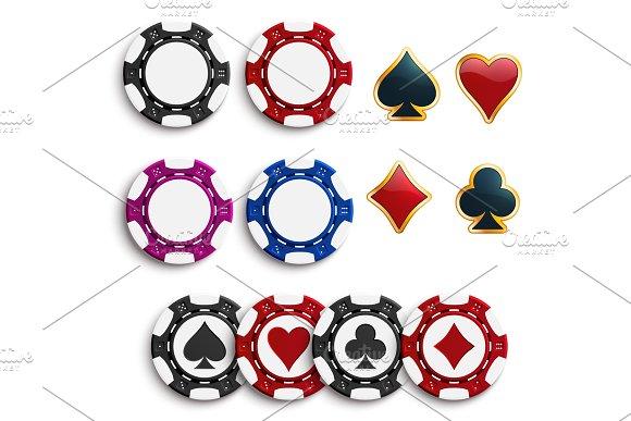 Vector Casino Poker Gambling Chips Icons